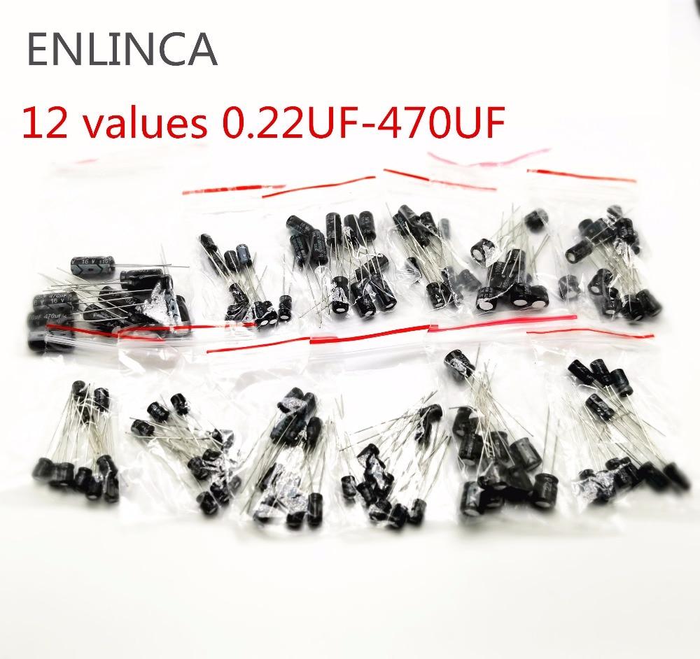 120pcs 12 Values 0.22UF-470UF Aluminum Electrolytic Capacitor Assortment Kit Set Pack 16v 50v 0.22uf 0.47uf 1uf 2.2uf 4.7uf 22uf