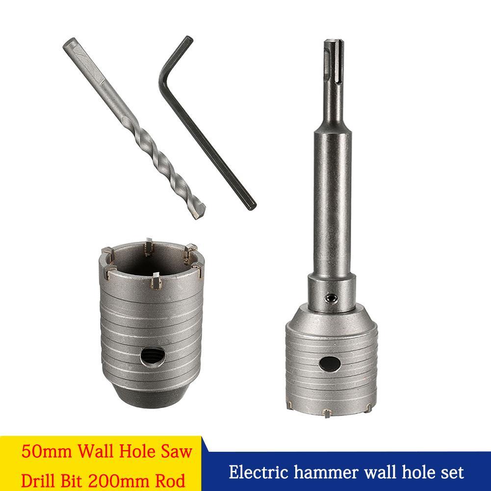 30-160mm SDS Plus Carbide Drill Bit Kit Hammer Hole Saw Shaft For Wall Masonry