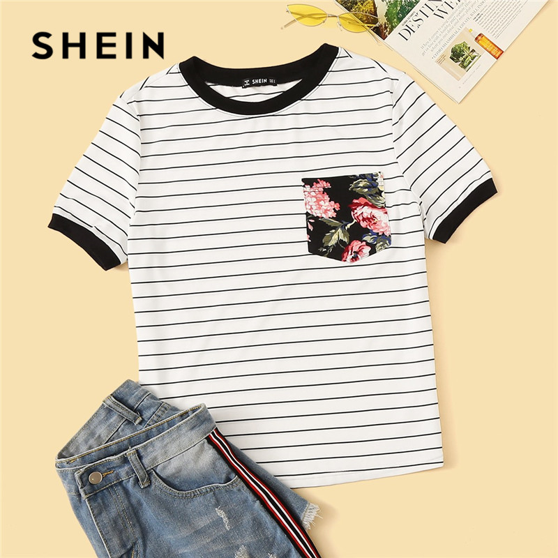 SHEIN Preppy Floral Pocket Patched Striped Ringer T Shirt Women Clothes 2019 Round Neck Casual Stretchy Summer Shirt Ladies Tops