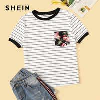 Shein preppy bolso floral remendado listrado ringer t camisa roupas femininas 2019 em torno do pescoço casual elástico verão camisa das senhoras topos