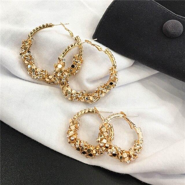 Charm Austrian crystal hoop earrings Geometric Round Shiny rhinestone big earring jewelry