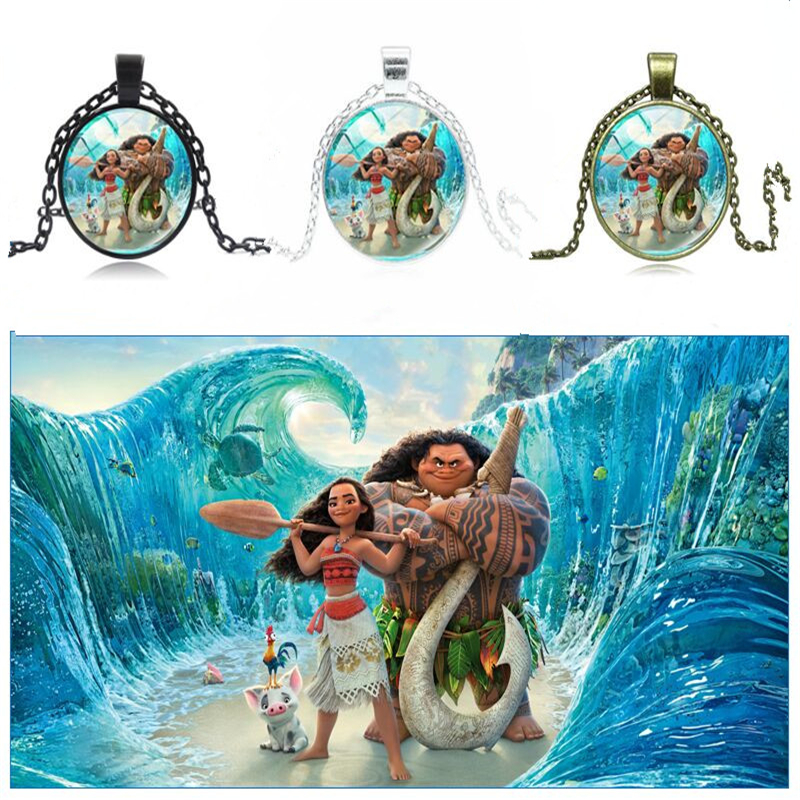 New Fashion Movies Moana Girl Chain Necklace para Chicken Glass Dome Pendant Colar Art Photo Jewelry Wholesale Cosplay Props