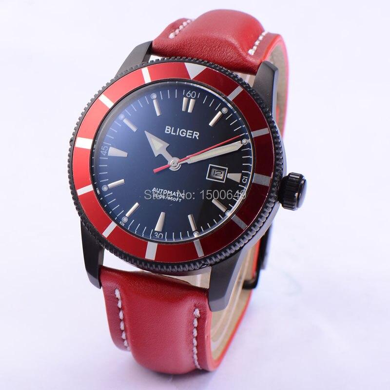 BLIGER 46mm Edelstahl PVD SCHWARZ stahl fall leuchtende uhr hand rot schwarz zifferblatt automatische mens Datum armbanduhren-in Mechanische Uhren aus Uhren bei  Gruppe 1
