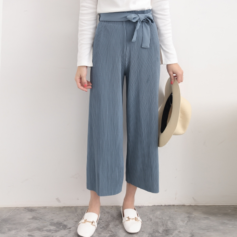 WKOUD   Wide     Leg     Pants   For Women Solid Sashes High Waist Trousers Loose Style Pleated Ankle-Length   Pants   Female Casual Wear P8335