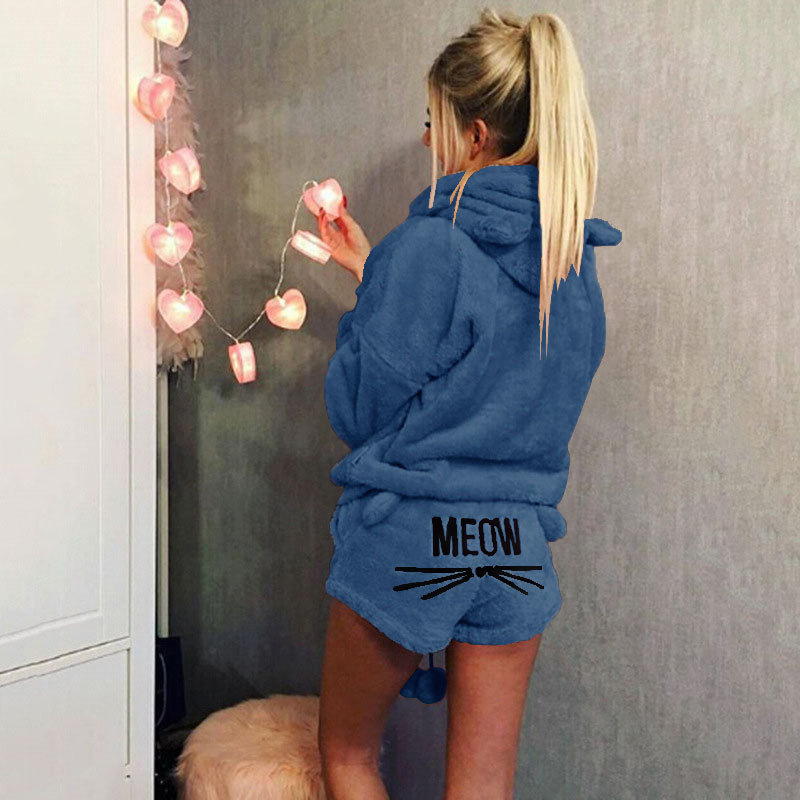 ZOOLIM Large Size S-5XL Women   Pajamas     Sets   2018 Autumn Winter Flannel Cartoon Warm Pyjamas Nightwear Sleepwear Cat Female Pijama