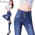 Calças de brim Das Mulheres 2017 casual denim calças skinny jeans Azul Do Floco De Neve para as mulheres sólidos calças plus size calças jeans # GRP025
