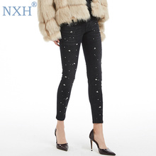 NXH New fashion jeans women Slim Ankle-length Pants high waisted skinny  jeans woman bling 582b2cd6d68a
