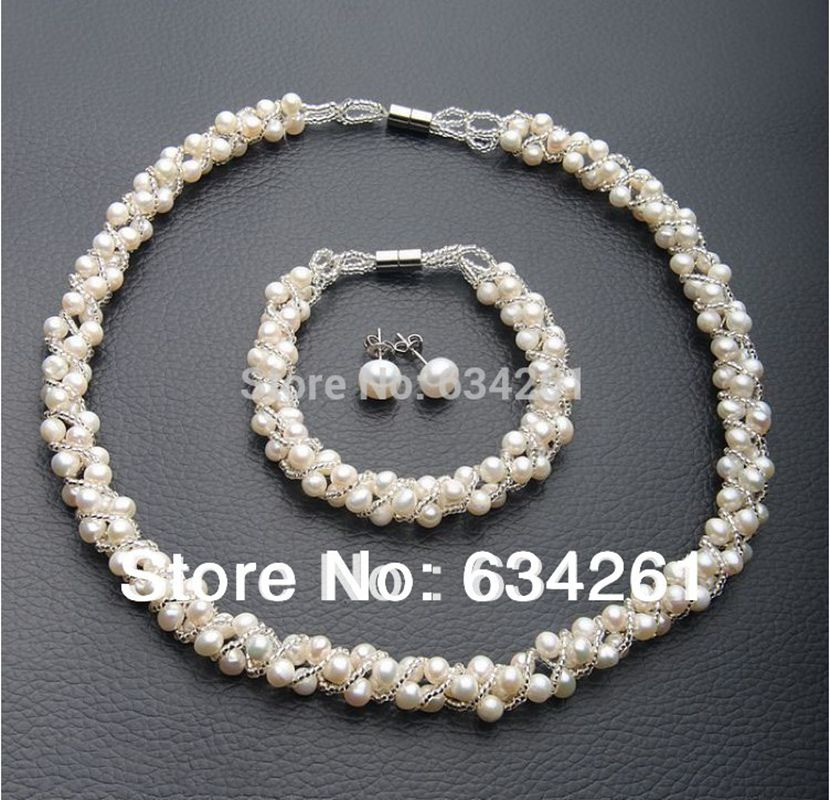 Cheap Pearl Necklace Sets: 4 Colors Natural Freshwater Pearl Jewelry Sets Real Pearl