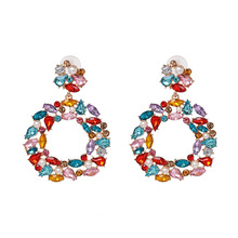 Crystal Rhinestone Colour Earrings For Women 2019 New female Geometric Starburst Dangle Statement Fashion Drop Jewelry