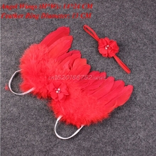 Newborn Baby Kids Girl Feather Lace Flowers Headband & Angel Wings Photo Prop