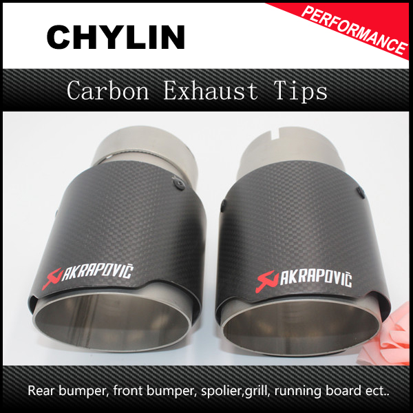 2Pcs/ Pair Inlet 63mm Outlet 89mm Car Styling Akrapovic Carbon Exhaust Muffler Tips Universal Carbon Exhaust Muffler End Tips