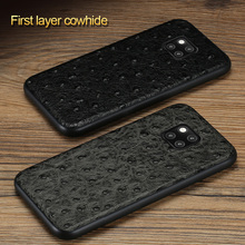 Full Grain Leather For Huawei mate 20 Pro lite honor 8x Case ostrich cover Mate Cases P20 P30