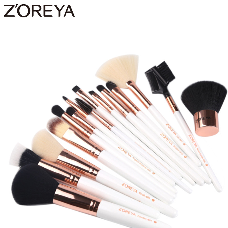 ZOREYA 15pcs White Handle Makeup Brush Set High Quality Synthetic Hair Cosmetic Tools Foundation Lip Powder Brushes For Make Up