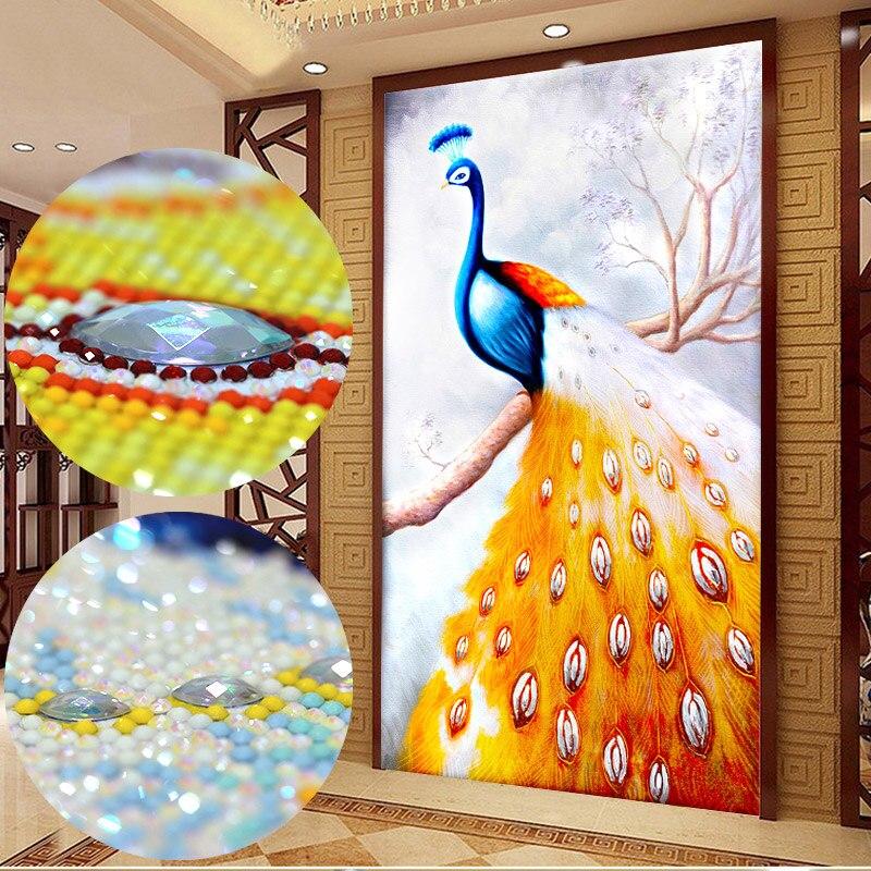 5D volledige diamant schilderij Kleurrijke magic vierkante diamanten AB heldere diamant vormige diamant pauw