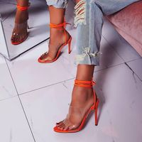 Women's high heels square head transparent PVC thin with fashion stiletto sexy straps women's shoes high heel 11cm wedding shoes