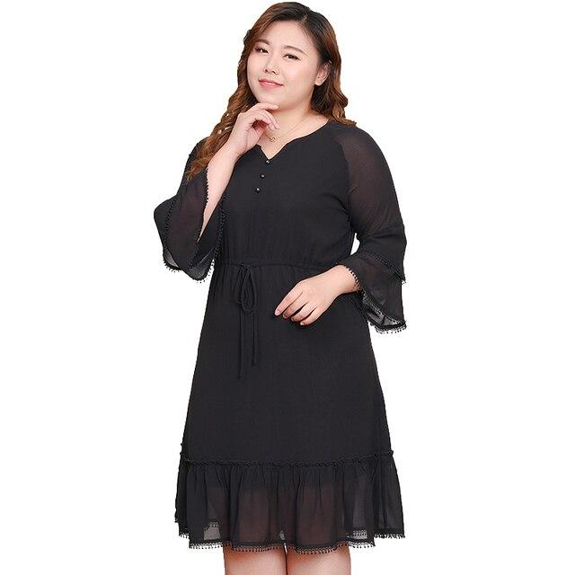 varios tipos de nueva colección exuberante en diseño TUHAO 2019 mujeres otoño vestidos negro volantes Oficina señora elegante  vestido de fiesta suelto 10XL 9XL 8XL talla grande Mujer ropa