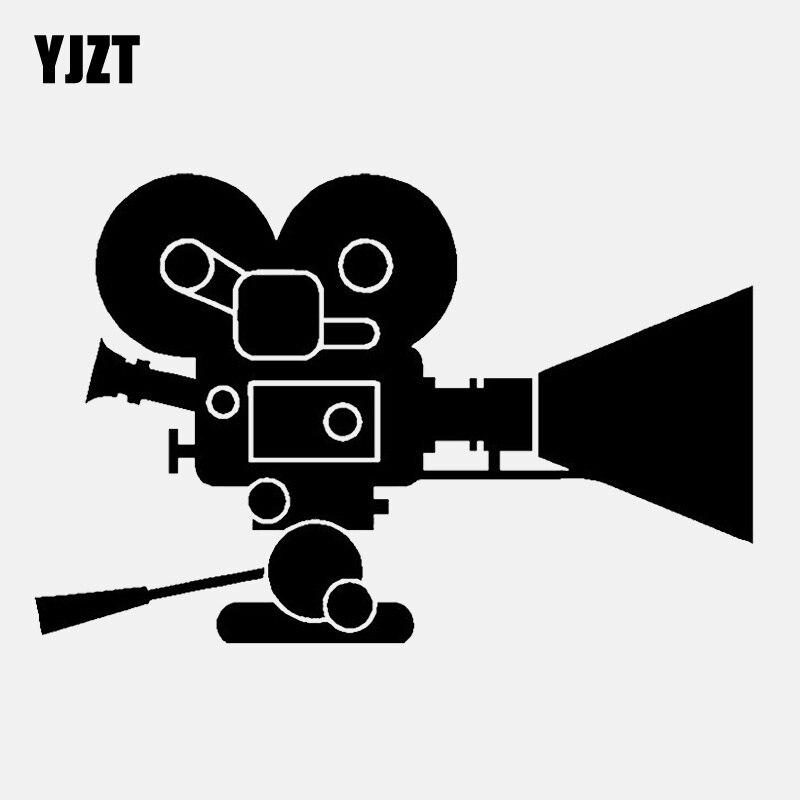 YJZT 14.8CM*9.7CM Interesting Movie Camera Decal Vinyl Black/Silver Car Sticker C22-0900