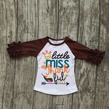 fall baby girls thanksgiving brown cotton icing sleeve top tshirts raglans little miss thankful arrow crown
