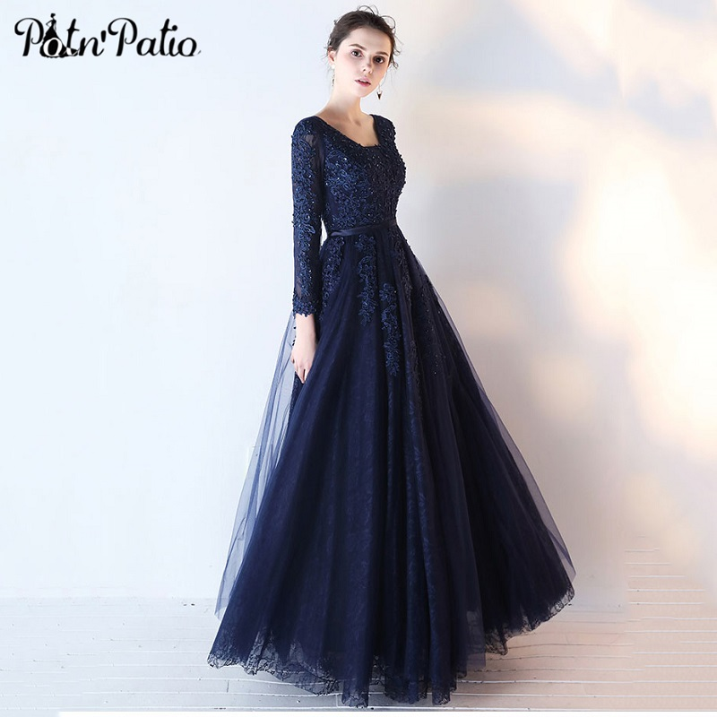 Navy Blue Long Tulle   Evening     Dress   with Long-sleeve Elegant Beaded Sequin Lace Applique Formal   Dress     Evening   Party Gown 2018 New
