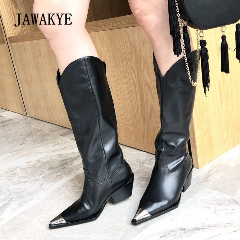 2018 Newest Chic Real Leather Boots Women Metal Pointed Toe Knee High Boots Woman Martin Boots knight2018 Newest Chic Real Leather Boots Women Metal Pointed Toe Knee High Boots Woman Martin Boots knight