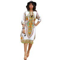 2016 High Quality Women Seven Sleeves Autumn Dress Vestidos Sexy African Print Casual Straight Kaftan Long