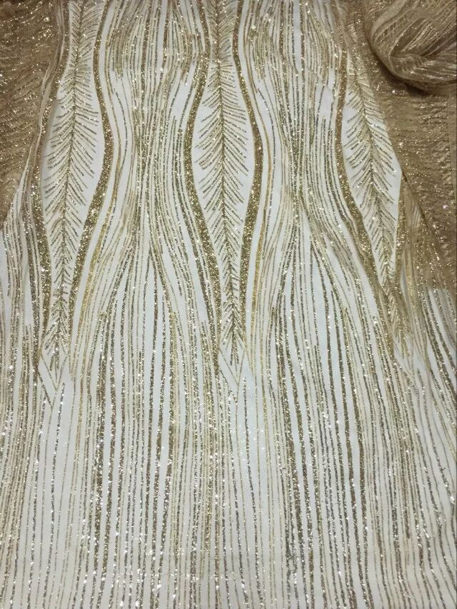 glued glitter French net fabric Embroidered mesh lace fabric David 007 with gold glitter