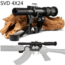 Red Illuminated 4x24 PSO-1 Jenis Lingkup untuk Dragonov SVD Sniper Rifle Series AK RifleScope Berburu Trail Rifle Scopes