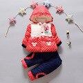 НОВЫЕ Новорожденных девочек одежда Зимняя мода dot пальто Толщиной Теплое Пальто + Брюки Теплые Верхняя Одежда Куртки хлопка детская Одежда Наборы