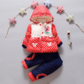 NUEVA ropa de los bebés de Invierno punto de la manera Gruesa capa Caliente + Pantalones Calientes ropa de Abrigo Chaqueta de algodón Ropa de los cabritos Sets