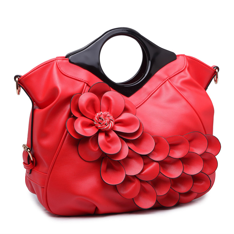 QIAODUO Peacock Flower Women Handbag With Wooden Handle Luxury Leather Crossbody Shoulder Bag For Bride Wedding Red Tote Bag