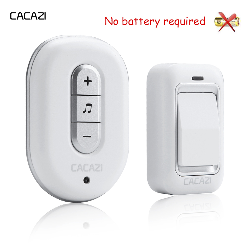 CACAZI High quality 48 Tunes Wireless Cordless Doorbell Remote Door Bell Chime,No need battery,Waterproof