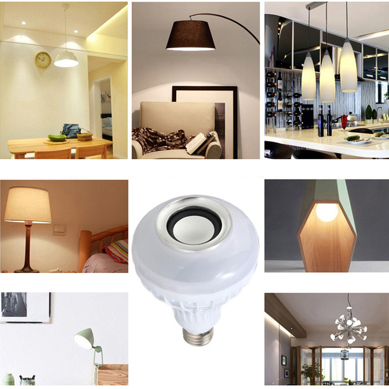 Купить с кэшбэком E27 Smart RGB RGBW Wireless Bluetooth Speaker Bulb 12W Music Playing Dimmable LED Bulb Light Lamp with 24 Keys Remote Controller