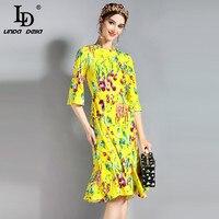 LD LINDA DELLA Runway Summer Dress Womens 3 4 Sleeve Yellow Fashion Vegetables Print Sexy Mermaid