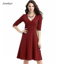 Women Dresses Hot Sale New Fashion V-neck Sexy Party Cocktail Casual Dresses Size S M L XL XXL