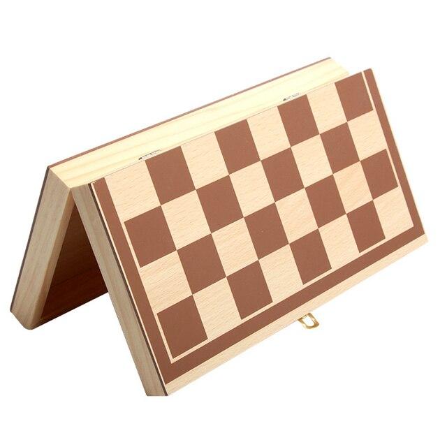 Jeu d'échecs International en bois pliable, jeu d'échecs en bois, échiquier de haute qualité  34cm x 34cm 5