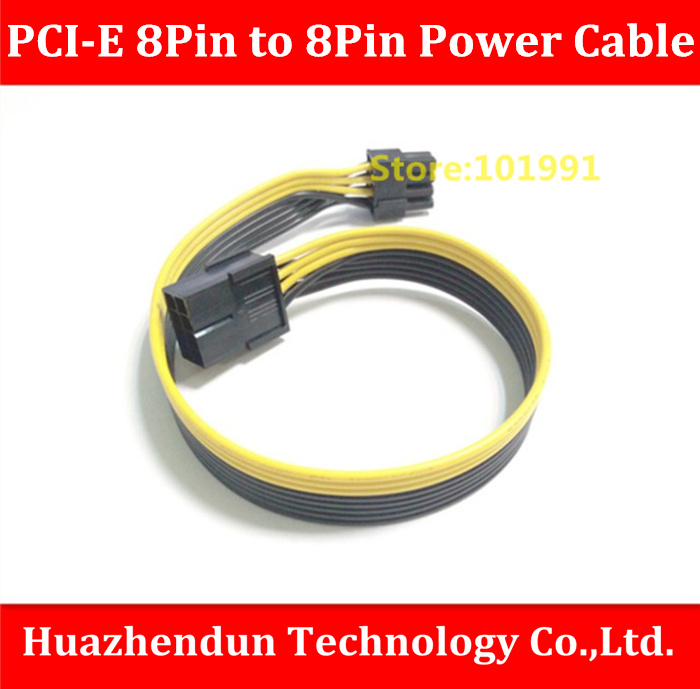 NEW ARRIVALS PCI-E GPU 8Pin (6+2) Male to 8Pin Female Power Cable 30cm 18AWG 8Pin Ribbon Cable Yellow and Black