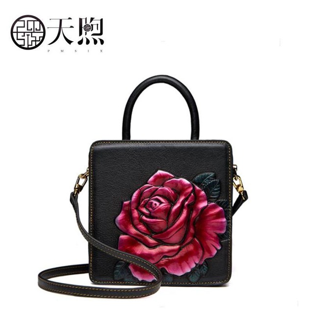 TMSIX 2018 New women genuine leather bags fashion designer Embossed color Flowers  handbags women bag leather small bag red black