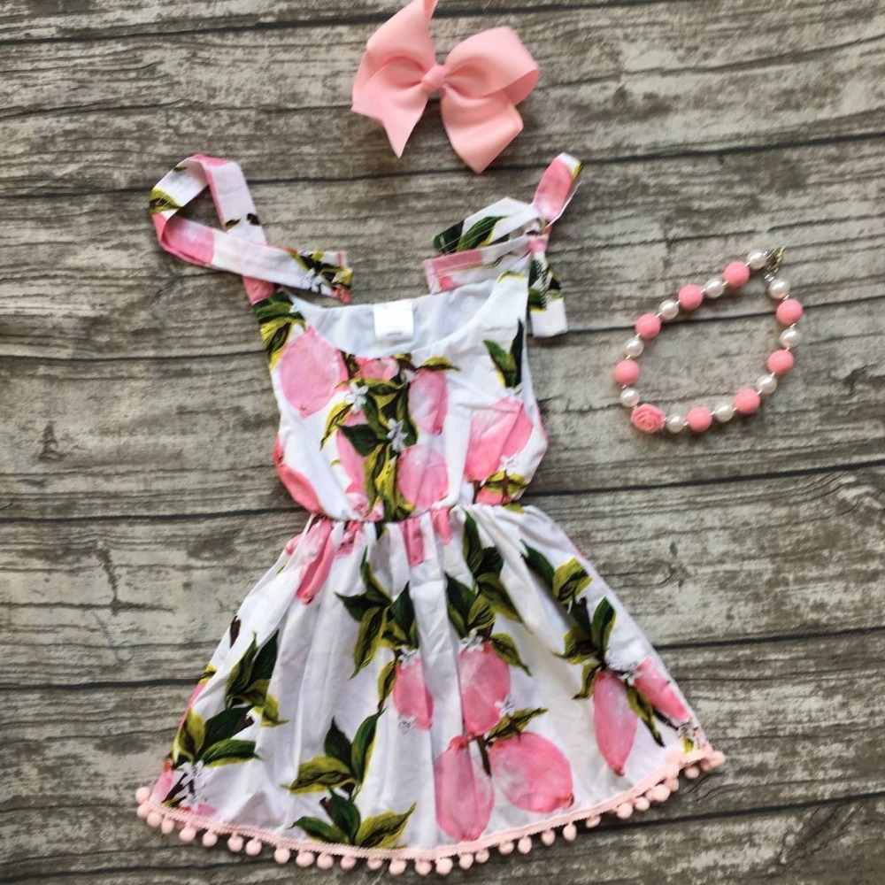 new arrival baby girls clothes summer lemon print pink 2