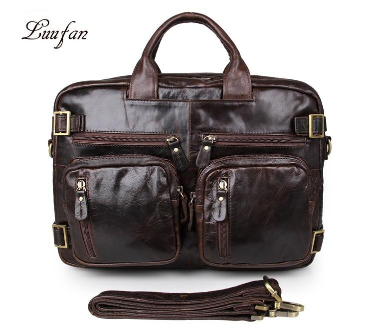 Vintage Crazy Horse Leather Briefcase Man Soft Genuine Leather 15 Inch Laptop Business Handbag Leather Shoulder Messenger Bag