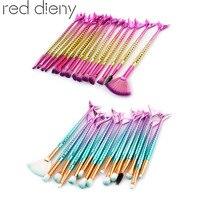 High Quality 15PCS Mermaid Mkaueup Brushes Set Foundation Powder Eyeshadow Eyelash Contour Lip Cosmetics Brushes Set