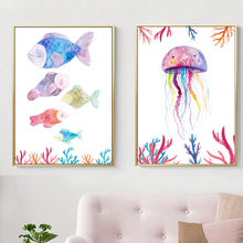 Watercolor Marine Life Fish Jellyfish Wall Art Canvas Painting Nordic Poster And Prints Pictures For Living Room Home Decor