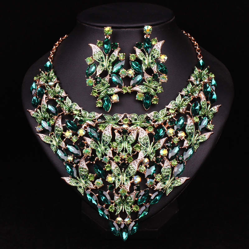 Image 2 - Fashion Indian Crystal Bridal Jewelry Sets Statement Big Necklace  Earrings Sets for Bride Wedding Party Dress Costume Accessorycrystal  bridal jewelry setnecklace earring setbridal jewelry sets