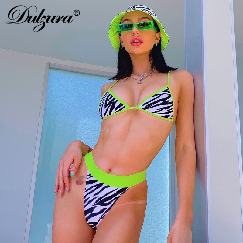 Dulzura Summer Women Two Piece Set Sexy Swimwear Patchwork Zebra Print Clothes 2 Piece Set Plus Size Festival Clothes Plus Size