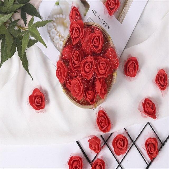 500 Pcs PE Foam Rose Artificial Flower Decoration Rose Bear DIY Wreath Candy Box Material Home Wedding Garden Decoration Gift
