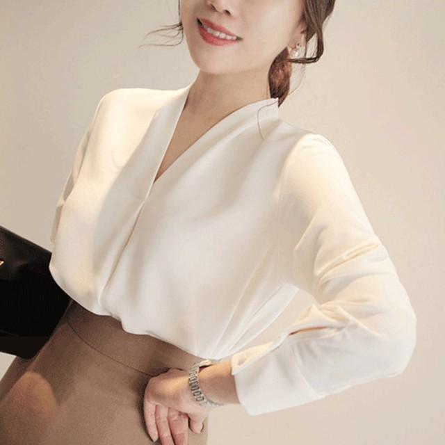 a80c2816ca34 Blusa clásica de chifón de estilo breve de moda para Mujer camisa de manga  larga de oficina para Mujer Blusas femeninas Camisas Mujer