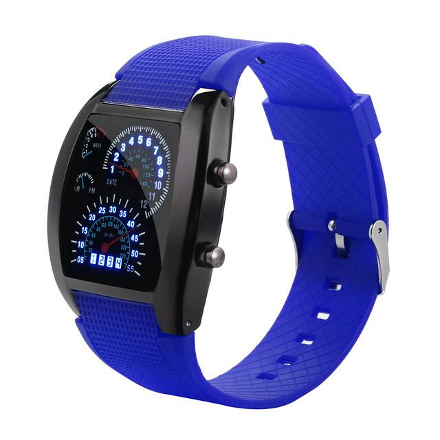 Reloj Con Pantalla LED, Diseño de  Velocimetro