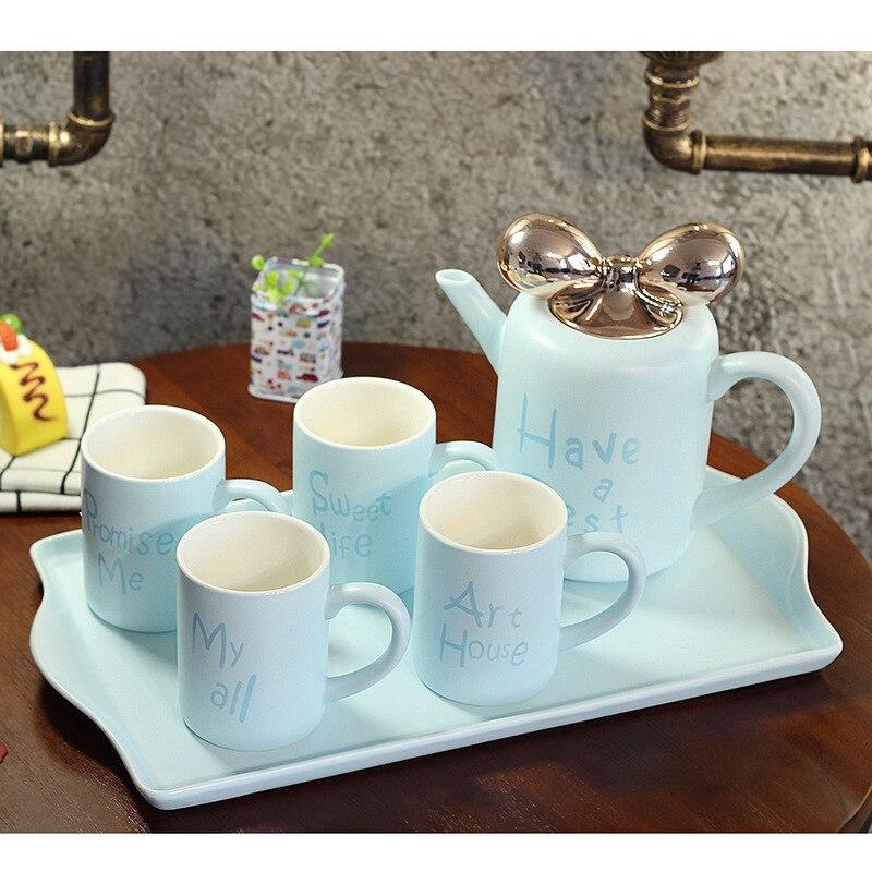 5 stks/set Europese Stijl Keramische Mokken Porselein Koffie Mokken Cups met Thee Pot Tuimelaars met Lade Cf651 - 3