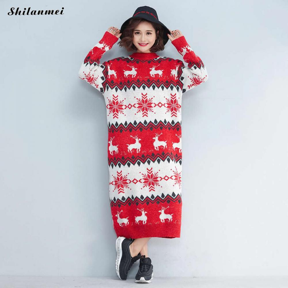 2018 Oversized Women Long Sweater Pullover Deer Print Loose Christmas Pull Femme Hiver Jumper Ladies Knitted Dress Femenino