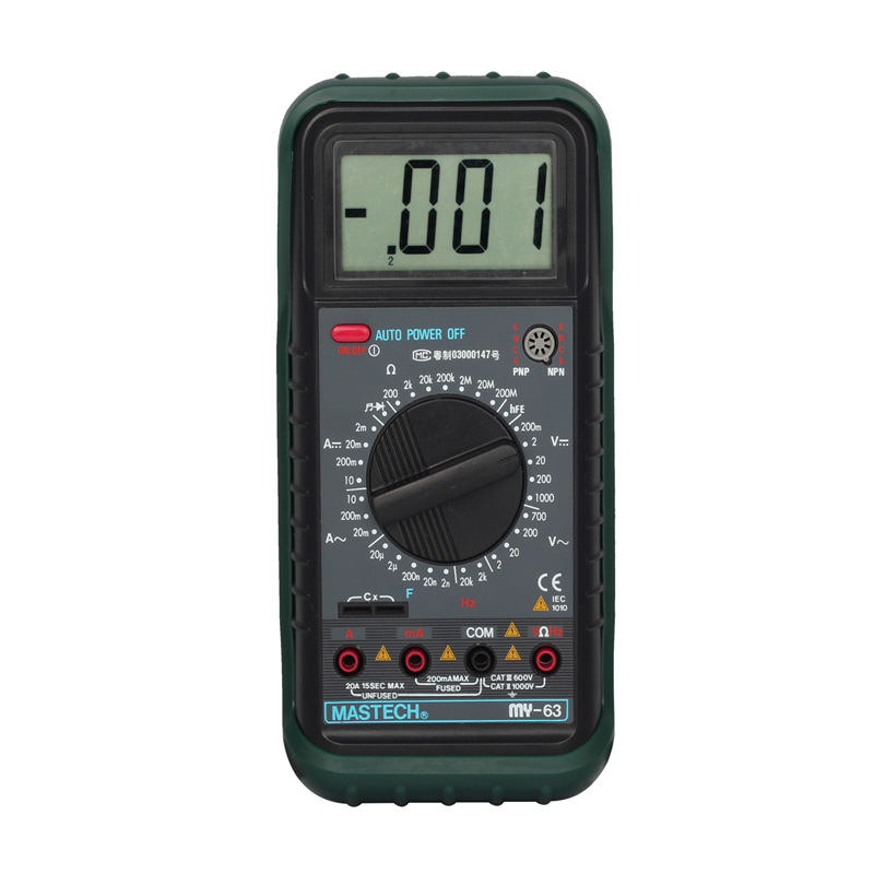 MASTECH MY63 Digital Multimeter DMM w/Capacitance Frequency & hFE Test Current Resistance Insulation Tester my64 digital multimeter dmm frequency capacitance temperature professional meter tester w hfe test