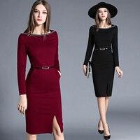 package hip long-sleeved dress Elegant Dress Female Straight Spring Summer OL Lady Women Dress High Waist Dress Plus Size